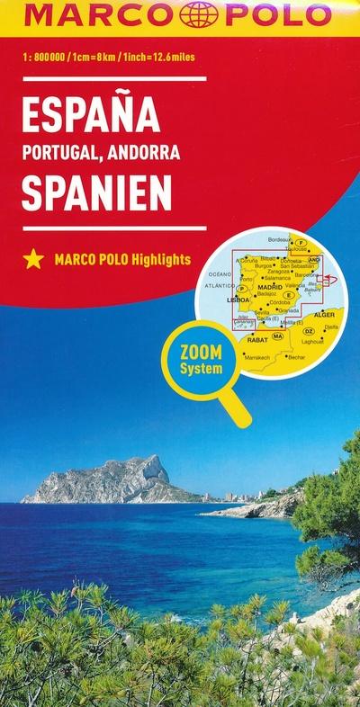 Spanje/Portugal 1:800.000 9783829738453  Marco Polo (D) MP Wegenkaarten  Landkaarten en wegenkaarten Spanje