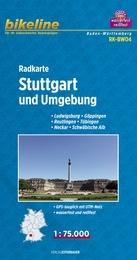 RK-BW04  Stuttgart & omgeving 1:75.000 9783850003247  Esterbauer Bikeline Radkarten  Fietskaarten Heidelberg, Kraichgau, Stuttgart, Neckar
