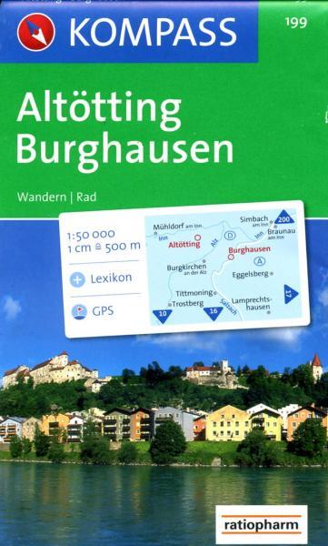 KP-199  Altötting, Burghausen | Kompass wandelkaart 9783850260381  Kompass Wandelkaarten Kompass Duitsland  Wandelkaarten Beierse Alpen