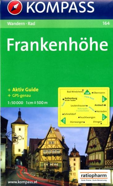 KP-164  Frankenhöhe 1:50.000 | Kompass wandelkaart 9783850261029  Kompass Wandelkaarten Kompass Duitsland  Wandelkaarten Franken, Nürnberg, Altmühltal