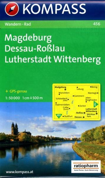 KP-456  Magdeburg, Dessau-Roßlau 1:50.000 | Kompass wandelkaart 9783850261180  Kompass Wandelkaarten Kompass Duitsland  Wandelkaarten Brandenburg & Sachsen-Anhalt