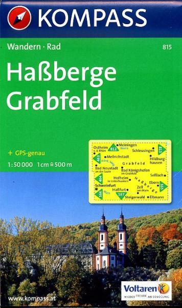 KP-815 Hassberge, Crabfeld   Kompass 9783850261876  Kompass Wandelkaarten Kompass Franken / Altmühltal  Wandelkaarten Franken, Nürnberg, Altmühltal