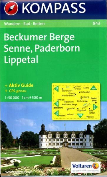 KP-843  Beckumer Berge, Senne 1:50.000   Kompass 9783850261913  Kompass Wandelkaarten Kompass Duitsland  Wandelkaarten Teutoburger Woud & Ostwestfalen