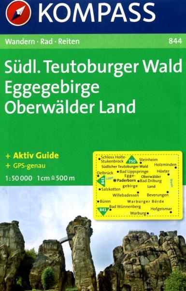 KP-844  Teutoburger Wald Süd 1:50.000   Kompass 9783850261920  Kompass Wandelkaarten Kompass Duitsland  Wandelkaarten Teutoburger Woud & Ostwestfalen