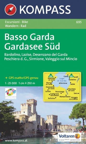 KP-695 Basso Garda 1:25.000 | Kompass wandelkaart 9783850262514  Kompass Wandelkaarten Kompass Italië  Wandelkaarten Gardameer