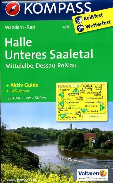 wandelkaart KP-458  Halle, Unteres Saaletal, Mittelelbe ... | Kompass 9783850263467  Kompass Wandelkaarten Kompass Brandenburg / S.Anhalt  Wandelkaarten Brandenburg & Sachsen-Anhalt