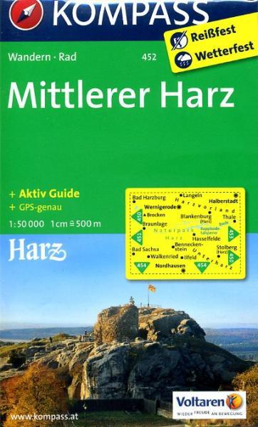 KP-452  Harz (Midden) 1:50.000 | Kompass wandelkaart 9783850264884  Kompass Wandelkaarten Kompass Duitsland  Wandelkaarten Harz