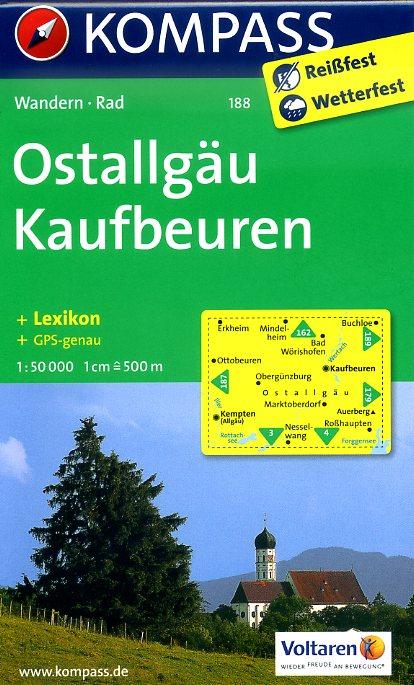 KP-188 Kaufbeuren/Ostallgäu | Kompass wandelkaart 9783850265010  Kompass Wandelkaarten Kompass Duitsland  Wandelkaarten Beierse Alpen
