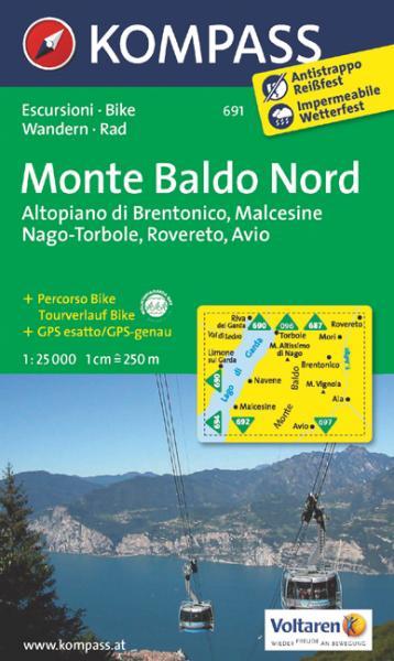 KP-691  Monte Baldo Nord 1:25.000 9783850265379  Kompass Wandelkaarten Kompass Italië  Wandelkaarten Gardameer