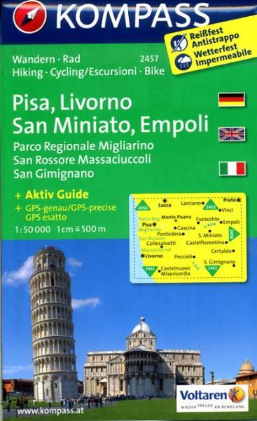 KP-2457  Pisa, Livorno, San Miniato, Empoli 1:50.000 | Kompass wandelkaart 9783850266017  Kompass Wandelkaarten Kompass Italië  Wandelkaarten Toscane, Florence