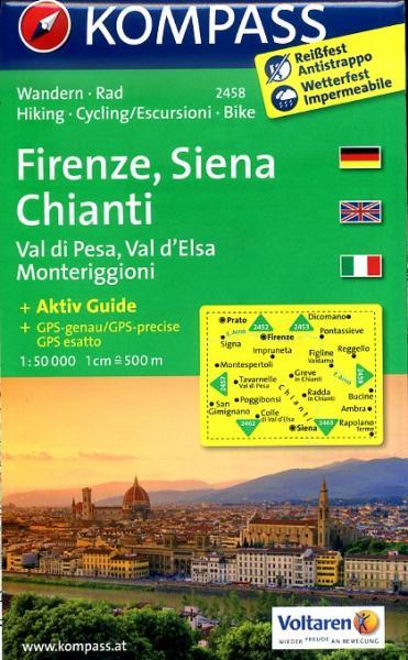 KP-2458  Firenze, Chianti | Kompass wandelkaart 9783850266024  Kompass Wandelkaarten Kompass Italië  Wandelkaarten, Wijnreisgidsen Toscane, Florence
