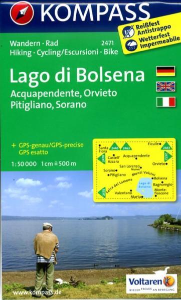 KP-2471 Lago di Bolsena 1:50.000 | Kompass wandelkaart 9783850266109  Kompass Wandelkaarten Kompass Italië  Wandelkaarten Rome, Lazio