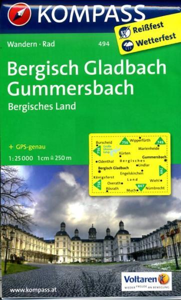 KP-494  Bergisches Land, Gummersbach 1:50.000 | Kompass wandelkaart 9783850266130  Kompass Wandelkaarten Kompass Duitsland  Wandelkaarten Düsseldorf, Wuppertal & Bergisches Land