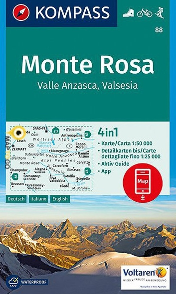 KP-88 Monte Rosa 1:50.000 | Kompass wandelkaart 9783850266369  Kompass Wandelkaarten Kompass Italië  Wandelkaarten Turijn, Piemonte