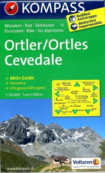 KP-72 Ortler 1:50.000 | Kompass wandelkaart 9783850267113  Kompass Wandelkaarten Kompass Italië  Wandelkaarten Zuid-Tirol, Dolomieten