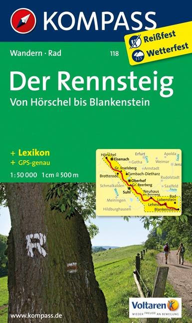 KP-118 Rennsteig | Kompass wandelkaart 9783850267366  Kompass Wandelkaarten Kompass Duitsland  Wandelkaarten Thüringen, Weimar, Rennsteig