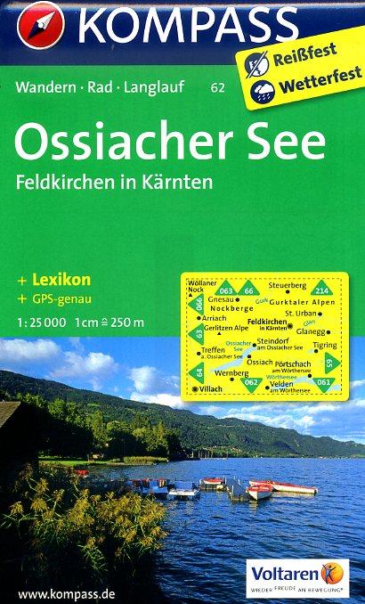 KP-62  Ossiacher See, Feldkirchen in Kärnten | Kompass wandelkaart 9783850268783  Kompass Wandelkaarten Kompass Oostenrijk  Wandelkaarten Salzburg, Karinthië, Tauern, Stiermarken
