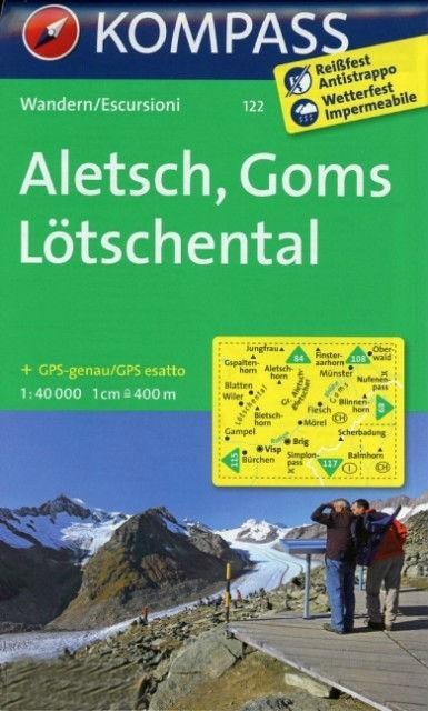 KP-122  Aletsch, Goms, Loetschental | Kompass wandelkaart 9783850269124  Kompass Wandelkaarten Kompass Zwitserland  Wandelkaarten Berner Oberland, Basel, Jura, Genève