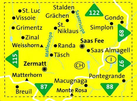KP-117 Zermatt, Saas Fee | Kompass wandelkaart 9783850269261  Kompass Wandelkaarten Kompass Zwitserland  Wandelkaarten Wallis