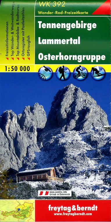 WK-392 Tennengebirge wandelkaart 1:50.000 9783850847391  Freytag & Berndt WK 1:50.000  Wandelkaarten Salzburger Land & Stiermarken