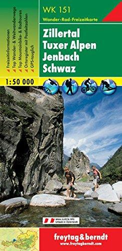 WK-151  Zillertal,Tuxer Voralpen,Jenbach,Schwaz 9783850847513  Freytag & Berndt WK 1:50.000  Wandelkaarten Tirol & Vorarlberg