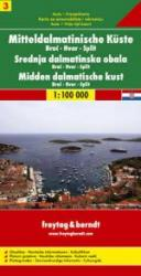 Dalmatinische Küste 3: Brac/ Havr/ Split | autokaart, wegenkaart 1:100.000 9783850849982  Freytag & Berndt   Landkaarten en wegenkaarten Kroatië
