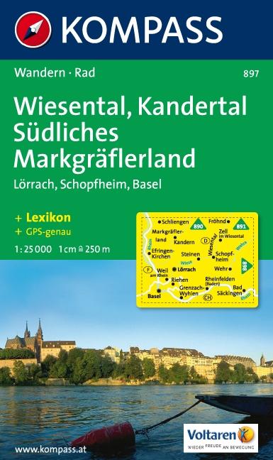 KP-897    Wiesental, Kandertal 1:25.000 | Kompass 9783854912521  Kompass Wandelkaarten Kompass Duitsland  Wandelkaarten Zwarte Woud