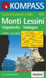KP-100 Monti Lessini | Kompass wandelkaart 9783854914167  Kompass Wandelkaarten Kompass Italië  Wandelkaarten Gardameer