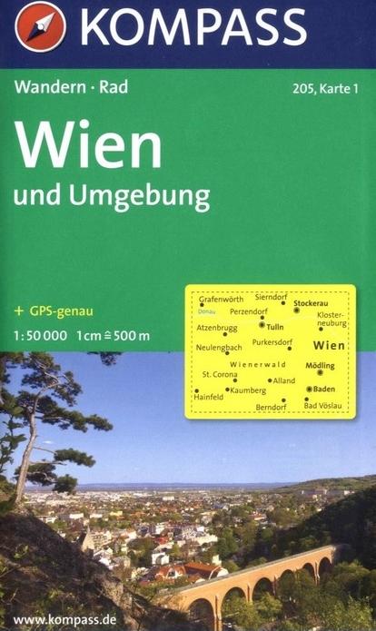 KP-205  Wenen en omgeving | Kompass wandelkaart 9783854916666  Kompass Wandelkaarten Kompass Oostenrijk  Wandelkaarten Wenen, Noord- en Oost-Oostenrijk