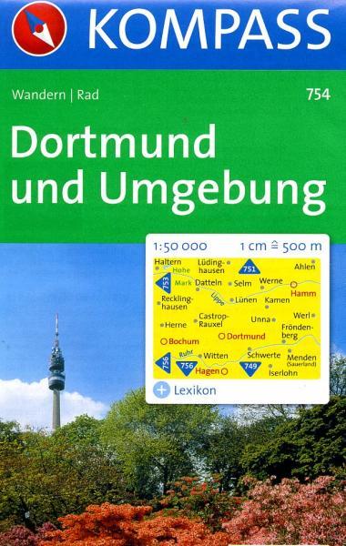 KP-754 Rund um Dortmund | Kompass wandelkaart 9783854916765  Kompass Wandelkaarten Kompass Duitsland  Wandelkaarten Ruhrgebied