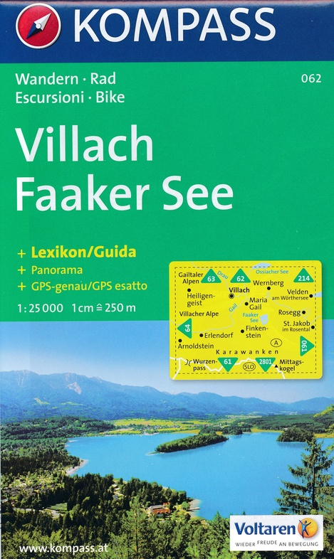 KP-062 Villach, Faaker See 1:25.000 9783854917045  Kompass Wandelkaarten Kompass Oostenrijk  Wandelkaarten Salzburg, Karinthië, Tauern, Stiermarken