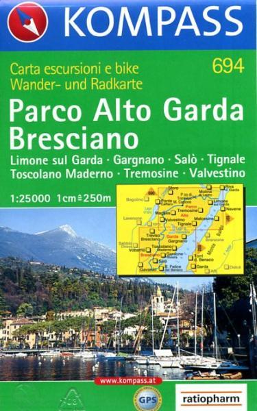 KP-694  Parco Alto Garda Bresciano 1:25.000 | Kompass wandelkaart 9783854917175  Kompass Wandelkaarten Kompass Italië  Wandelkaarten Gardameer