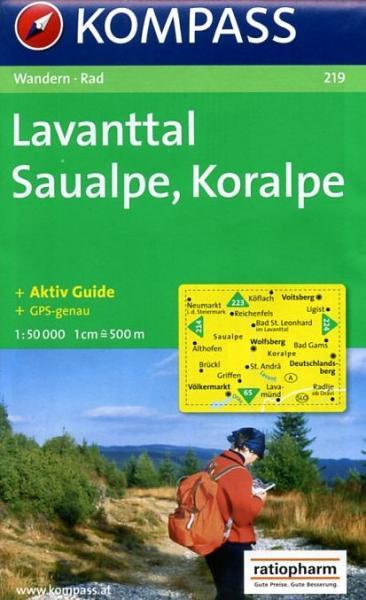 KP-219  Lavanttal/Saualpe/Koralpe | Kompass wandelkaart 9783854917410  Kompass Wandelkaarten Kompass Oostenrijk  Wandelkaarten Salzburg, Karinthië, Tauern, Stiermarken