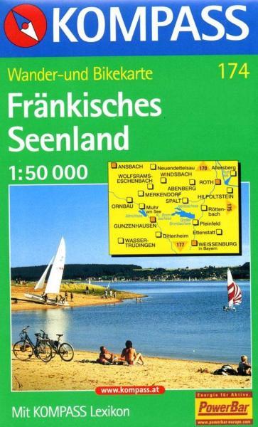 KP-174 Fränkische Seenland | Kompass wandelkaart 9783854917649  Kompass Wandelkaarten Kompass Duitsland  Wandelkaarten Franken, Nürnberg, Altmühltal
