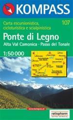 KP-107 Ponte di Legno | Kompass wandelkaart * 9783854917793  Kompass Wandelkaarten Kompass Italië  Wandelkaarten Zuid-Tirol, Dolomieten