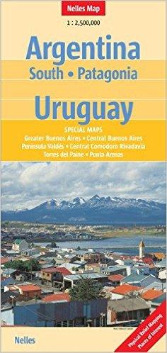 Argentinie, Midden en Zuid / Uruguay | wegenkaart - overzichtskaart 1:2,5M. 9783865740854  Nelles Nelles Maps  Landkaarten en wegenkaarten Chili, Argentinië, Patagonië