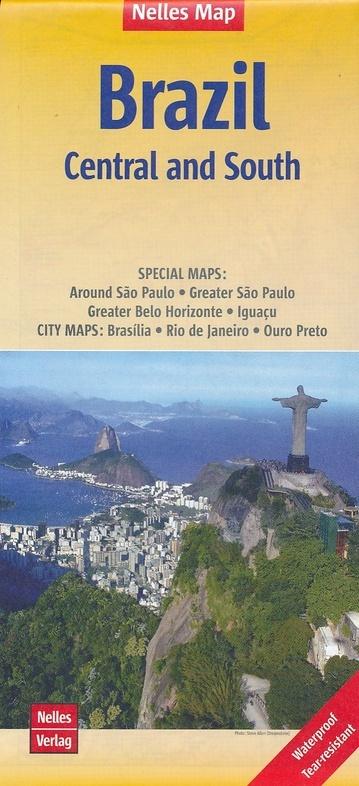 Brazil Central & South | wegenkaart - overzichtskaart Zuid & Centraal Brazilië 9783865740922  Nelles Nelles Maps  Landkaarten en wegenkaarten Brazilië