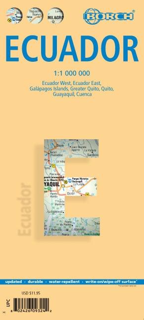 Ecuador 1:1.000.000 | geplastificeerde overzichtskaart / wegenkaart 9783866093249  Berndtson / Borch   Landkaarten en wegenkaarten Ecuador, Galapagos