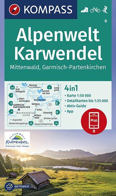 KP-6 Alpenwelt Karwendel | Kompass wandelkaart 9783870510084  Kompass Wandelkaarten Kompass Duitsland  Wandelkaarten Beierse Alpen