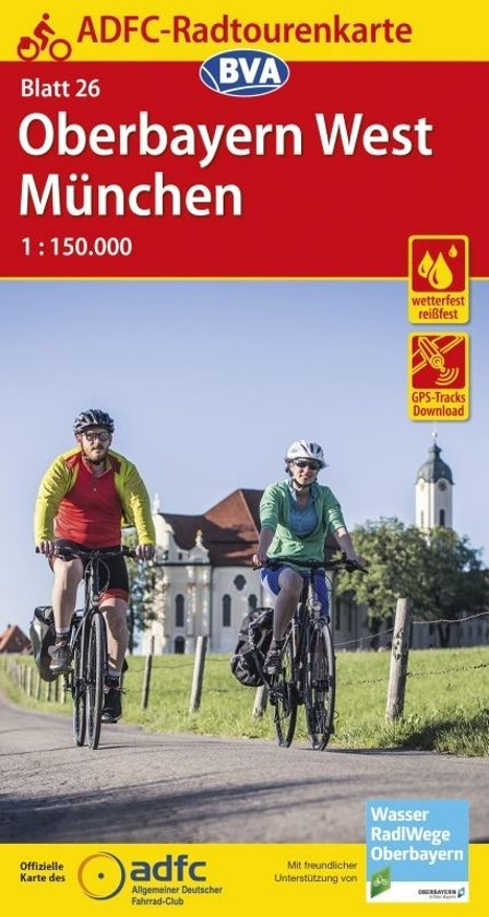 ADFC-26 Oberbayern/München | fietskaart 1:150.000 9783870738228  ADFC / BVA Radtourenkarten 1:150.000  Fietskaarten Beierse Alpen