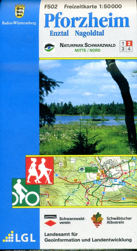 F502  Pforzheim 9783890215952  LVA BW Baden-W. 1:50.000  Wandelkaarten Heidelberg, Kraichgau, Stuttgart, Neckar