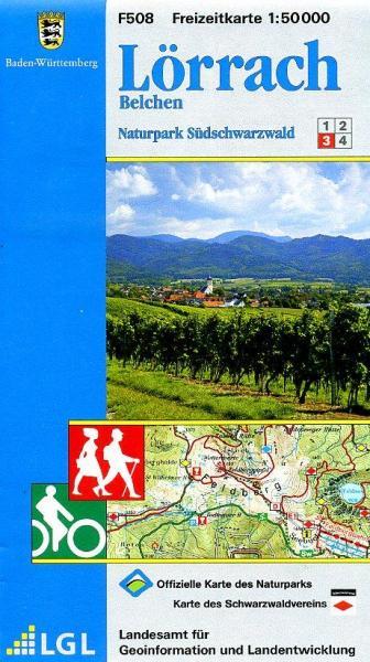 F508 (3) Lörrach, Belchen 9783890216010  LVA BW Baden-W. 1:50.000  Wandelkaarten Zwarte Woud