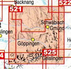 F521  Göppingen - Geislingen 9783890216140  LVA BW Baden-W. 1:50.000  Wandelkaarten Bodenmeer, Schwäbische Alb