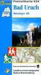 F524   Reutlingen - Bad Urach 9783890216171  LVA BW Baden-W. 1:50.000  Wandelkaarten Bodenmeer, Schwäbische Alb
