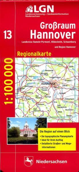CR-13 Großraum Hannover 9783894355975  LVA Niedersachsen Regionalkarten 1:100.000  Landkaarten en wegenkaarten Lüneburger Heide, Hannover, Weserbergland