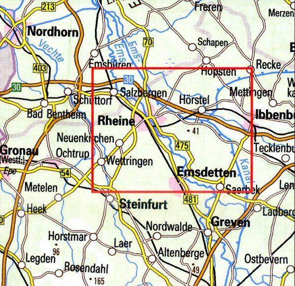 Wandern rund um Rheine | wandelkaart 1:25.000 9783897105560  Bonifatius Grüne Reihe  Wandelkaarten Teutoburger Woud & Ostwestfalen