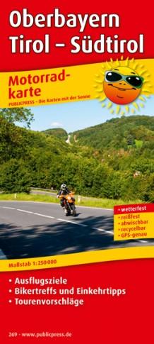 Oberbayern - Tirol - Südtirol 1:250.000 9783899202694  Publicpress Motorradkarten - mit der Sonne  Landkaarten en wegenkaarten, Motorsport Midden-Italië, Tirol & Vorarlberg