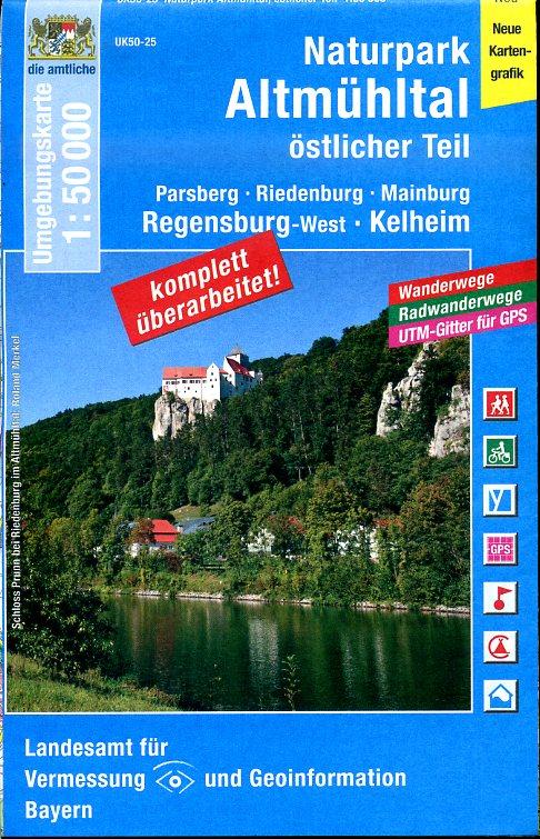 UK50-25   Naturpark Altmühltal - Östlicher Teil 9783899335620  LVA Bayern UmgebungsKarte 1:50.000  Wandelkaarten Franken, Nürnberg, Altmühltal