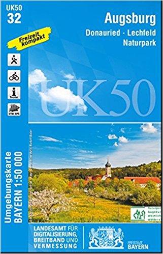 UK50-32 Augsburg 9783899336399  LVA Bayern UmgebungsKarte 1:50.000  Wandelkaarten Romantische Strasse, Schwaben