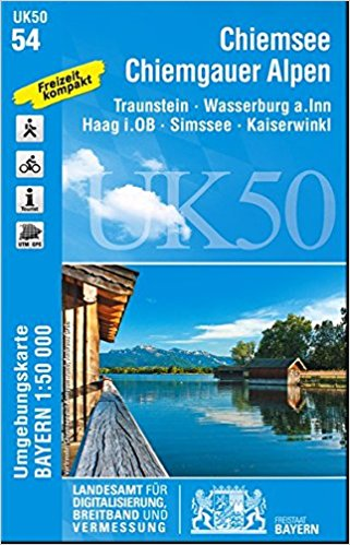 UK50-54  Chiemsee und Umg. 9783899336443  LVA Bayern UmgebungsKarte 1:50.000  Wandelkaarten Beierse Alpen